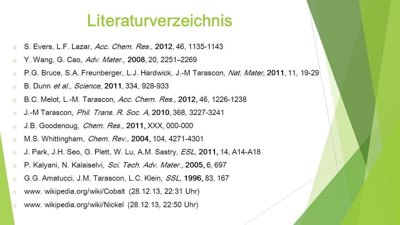 Literaturverzeichnis o S. Evers, L.F. Lazar, Acc. Chem. Res., 2012, 46, 1135-1143 o Y. Wang, G. Cao, Adv. Mater., 2008, 20, 2251–2269 o P.G. Bruce, S.