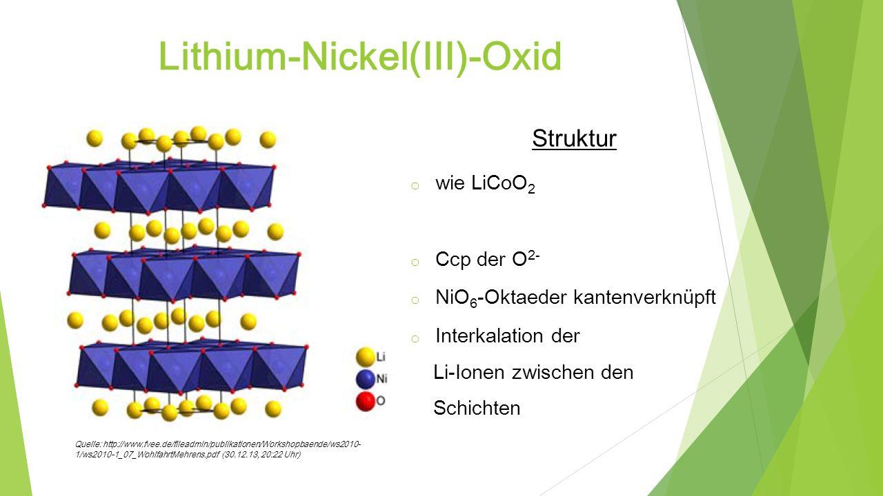 Lithium-Nickel(III)-Oxid Struktur o wie LiCoO 2 o Ccp der O 2- o NiO 6 -Oktaeder kantenverknüpft o Interkalation der Li-Ionen zwischen den Schichten Q