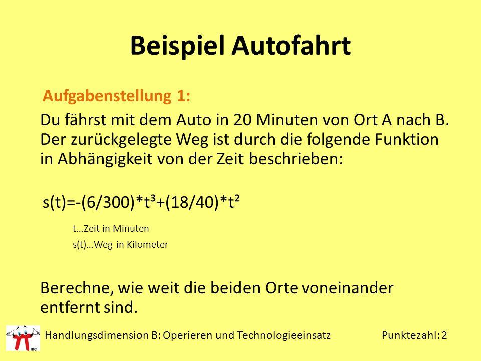 Beispiel Autofahrt Aufgabenstellung 1: Du fährst mit dem Auto in 20 Minuten von Ort A nach B.