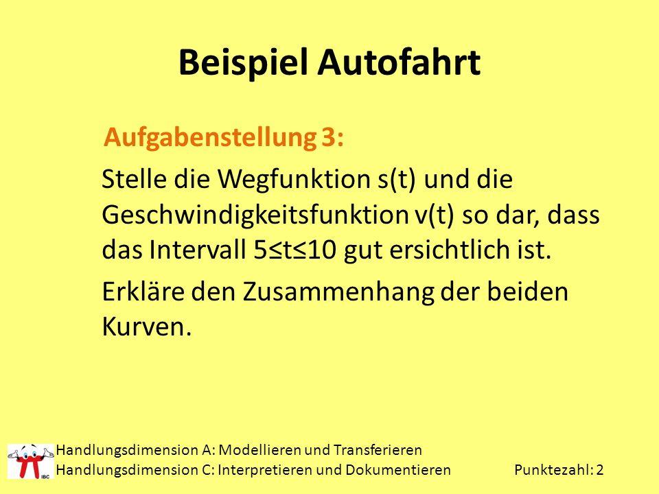 Beispiel Autofahrt Aufgabenstellung 3: Stelle die Wegfunktion s(t) und die Geschwindigkeitsfunktion v(t) so dar, dass das Intervall 5t10 gut ersichtlich ist.
