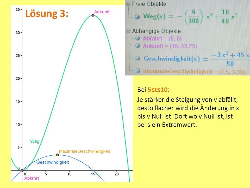 Lösung 3: Bei 5t10: Je stärker die Steigung von v abfällt, desto flacher wird die Änderung in s bis v Null ist.