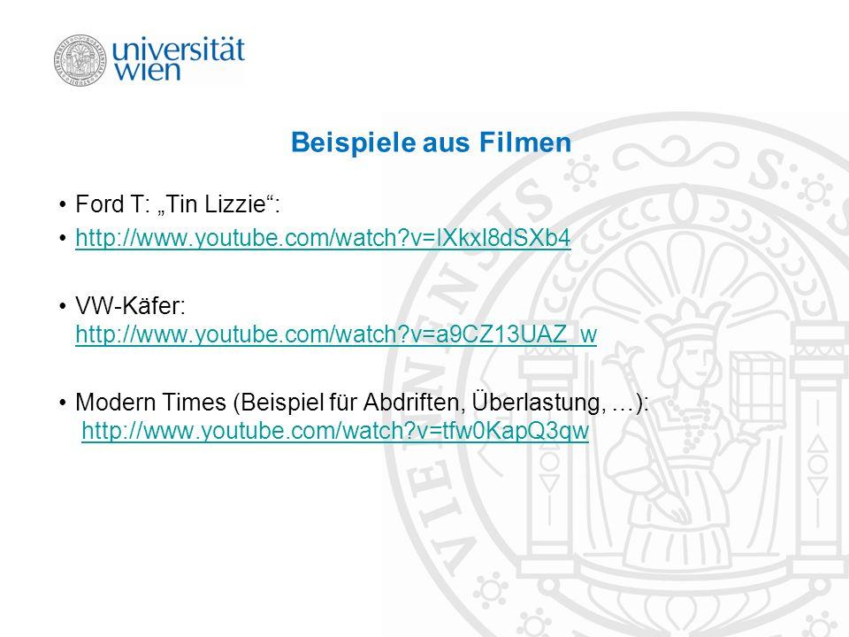 Beispiele aus Filmen Ford T: Tin Lizzie: http://www.youtube.com/watch?v=IXkxl8dSXb4 VW-Käfer: http://www.youtube.com/watch?v=a9CZ13UAZ_w http://www.yo