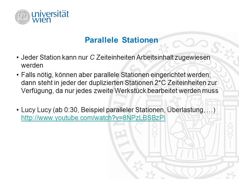 Parallele Stationen Jeder Station kann nur C Zeiteinheiten Arbeitsinhalt zugewiesen werden Falls nötig, können aber parallele Stationen eingerichtet w