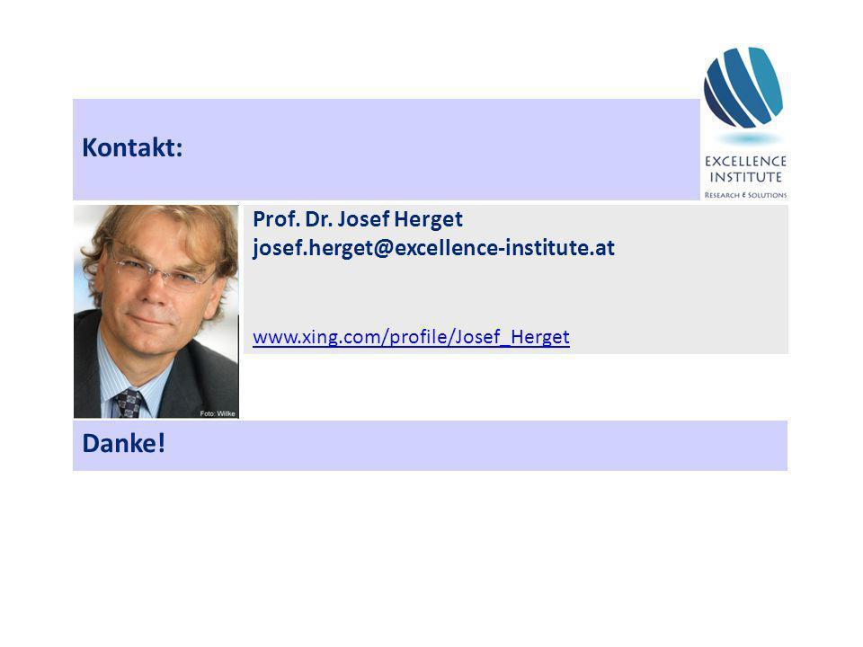 Kontakt: Prof. Dr. Josef Herget josef.herget@excellence-institute.at www.xing.com/profile/Josef_Herget Danke!