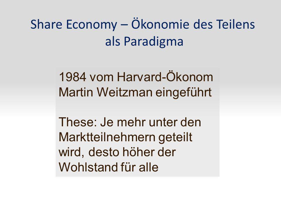 Share Economy – Ökonomie des Teilens als Paradigma 1984 vom Harvard-Ökonom Martin Weitzman eingeführt These: Je mehr unter den Marktteilnehmern geteil