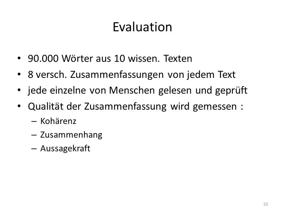 Evaluation 90.000 Wörter aus 10 wissen. Texten 8 versch. Zusammenfassungen von jedem Text jede einzelne von Menschen gelesen und geprüft Qualität der