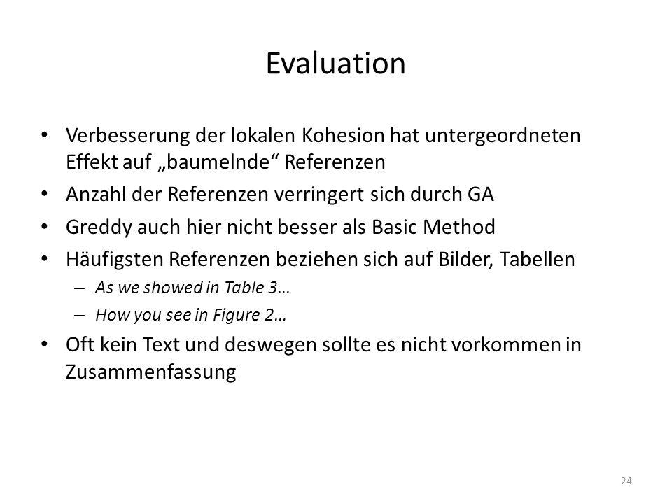 Evaluation Verbesserung der lokalen Kohesion hat untergeordneten Effekt auf baumelnde Referenzen Anzahl der Referenzen verringert sich durch GA Greddy