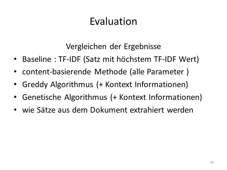 Evaluation Vergleichen der Ergebnisse Baseline : TF-IDF (Satz mit höchstem TF-IDF Wert) content-basierende Methode (alle Parameter ) Greddy Algorithmus (+ Kontext Informationen) Genetische Algorithmus (+ Kontext Informationen) wie Sätze aus dem Dokument extrahiert werden 28