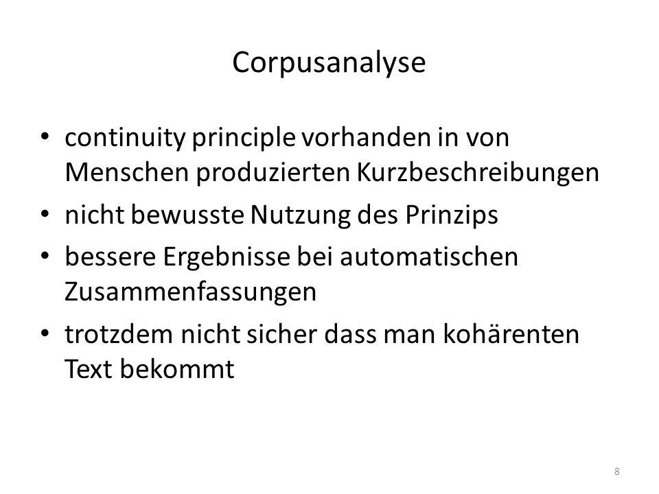 Corpusanalyse continuity principle vorhanden in von Menschen produzierten Kurzbeschreibungen nicht bewusste Nutzung des Prinzips bessere Ergebnisse be