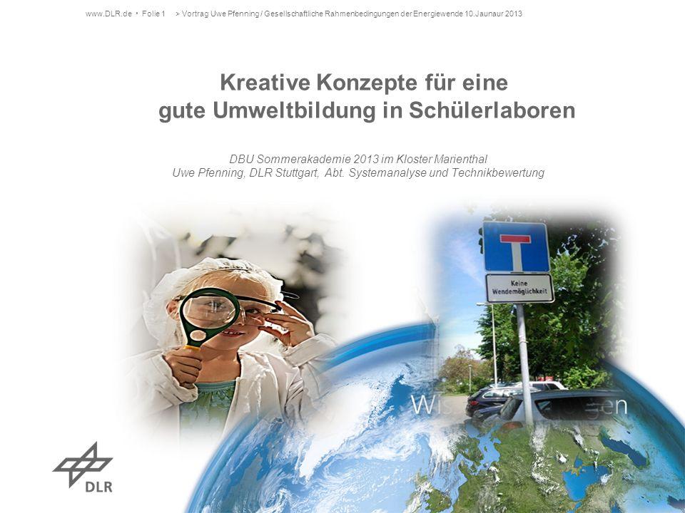 www.DLR.de Folie 1> Vortrag Uwe Pfenning / Gesellschaftliche Rahmenbedingungen der Energiewende 10.Jaunaur 2013 Kreative Konzepte für eine gute Umwelt