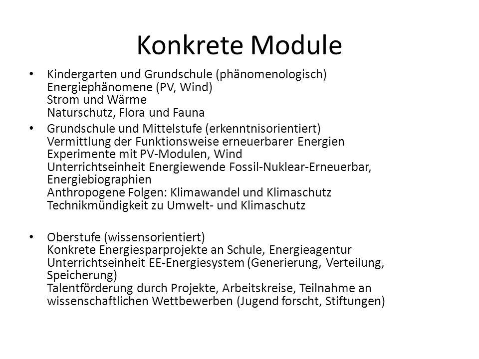 Konkrete Module Kindergarten und Grundschule (phänomenologisch) Energiephänomene (PV, Wind) Strom und Wärme Naturschutz, Flora und Fauna Grundschule u