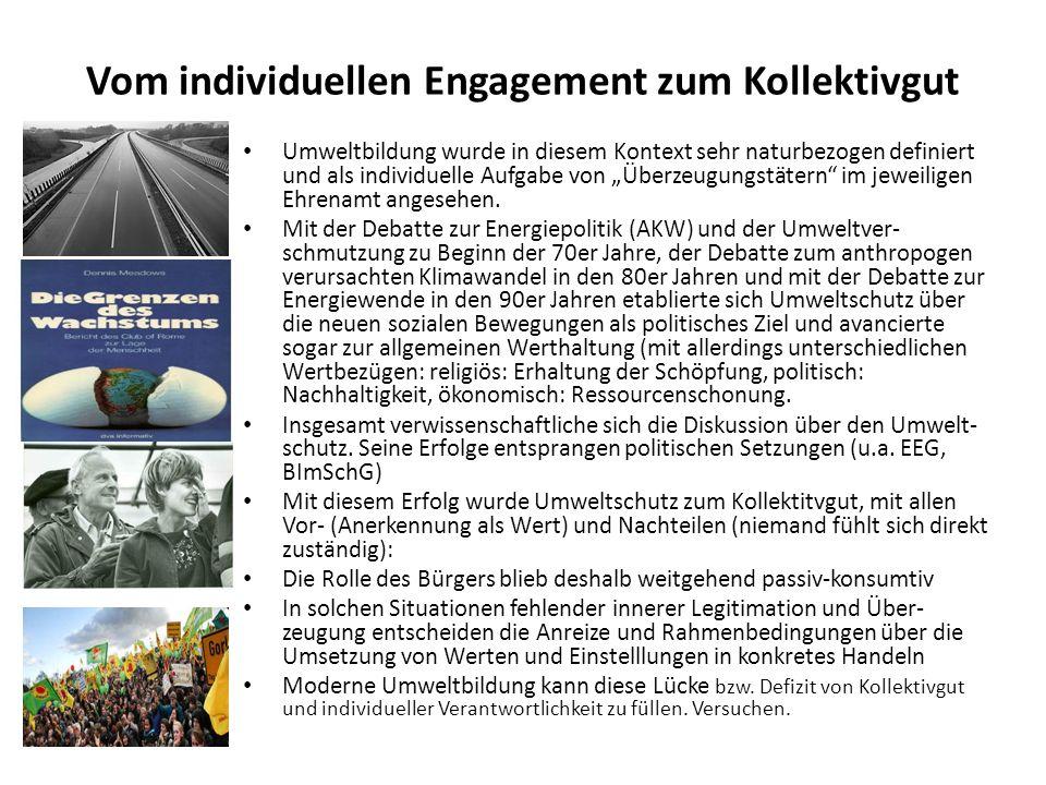 Vom individuellen Engagement zum Kollektivgut Umweltbildung wurde in diesem Kontext sehr naturbezogen definiert und als individuelle Aufgabe von Überz