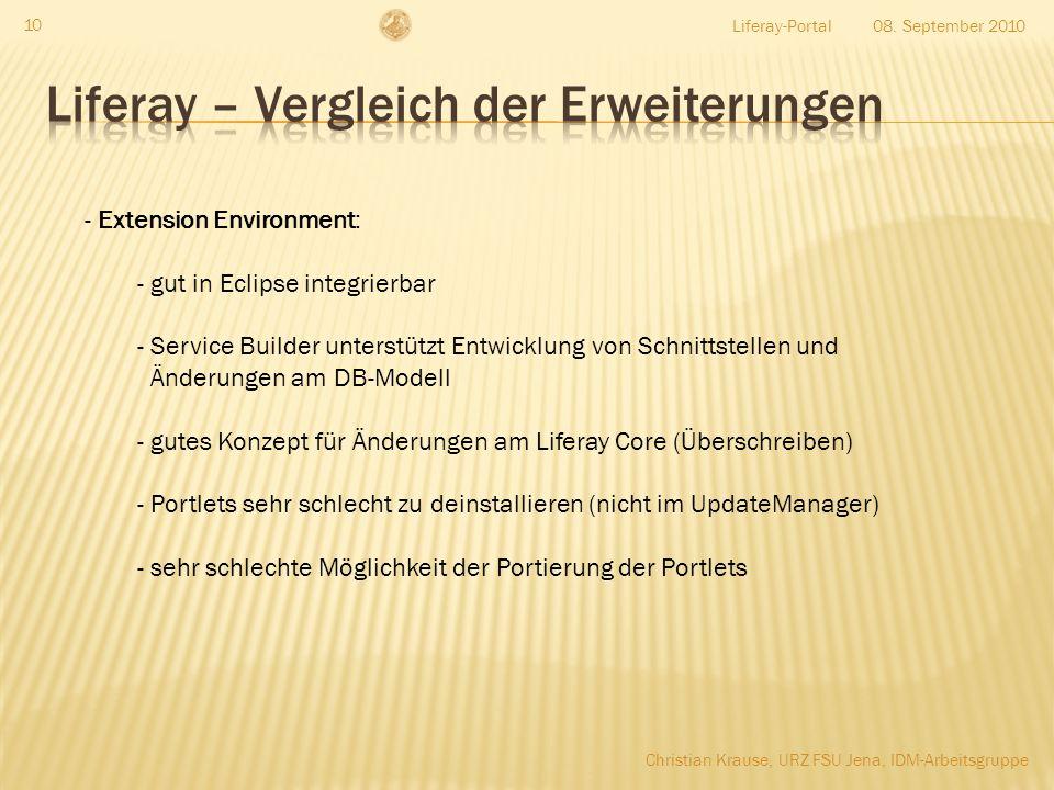 08. September 2010Liferay-Portal 10 - Extension Environment: - gut in Eclipse integrierbar - Service Builder unterstützt Entwicklung von Schnittstelle
