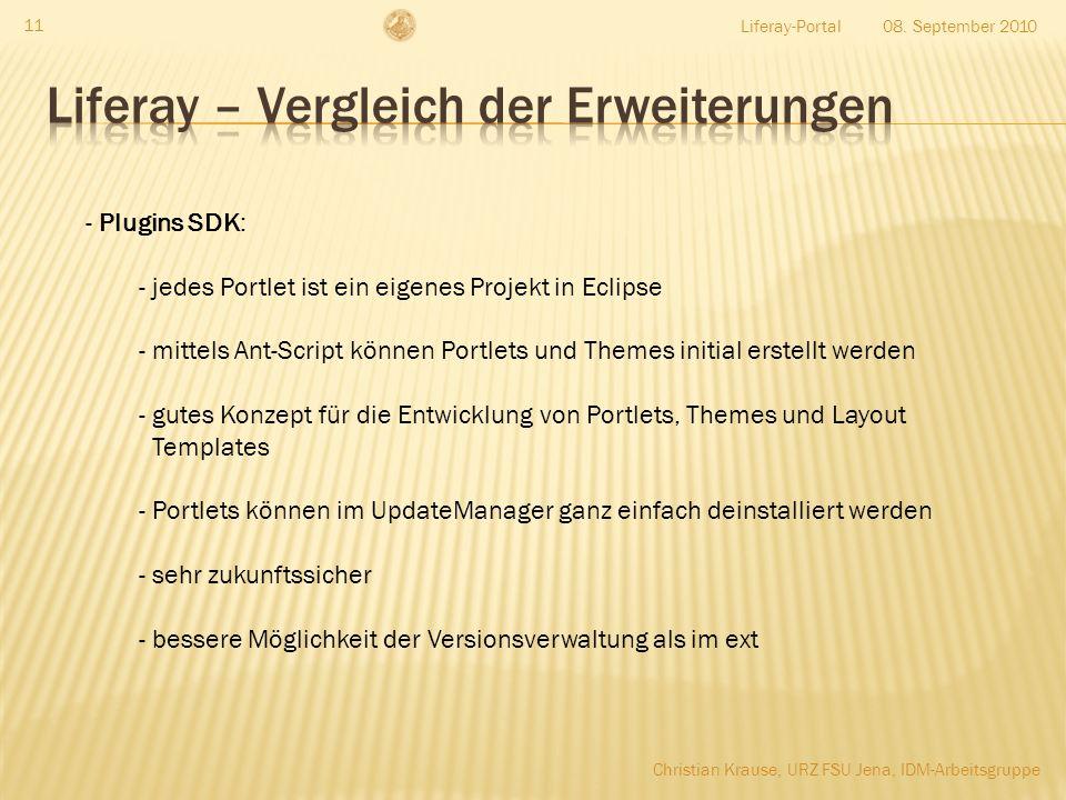 08. September 2010Liferay-Portal 11 - Plugins SDK: - jedes Portlet ist ein eigenes Projekt in Eclipse - mittels Ant-Script können Portlets und Themes