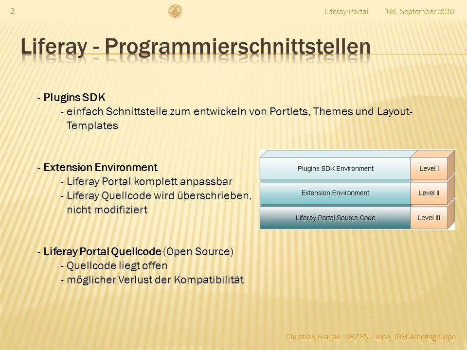 08. September 2010Liferay-Portal 2 - Plugins SDK - einfach Schnittstelle zum entwickeln von Portlets, Themes und Layout- Templates - Extension Environ