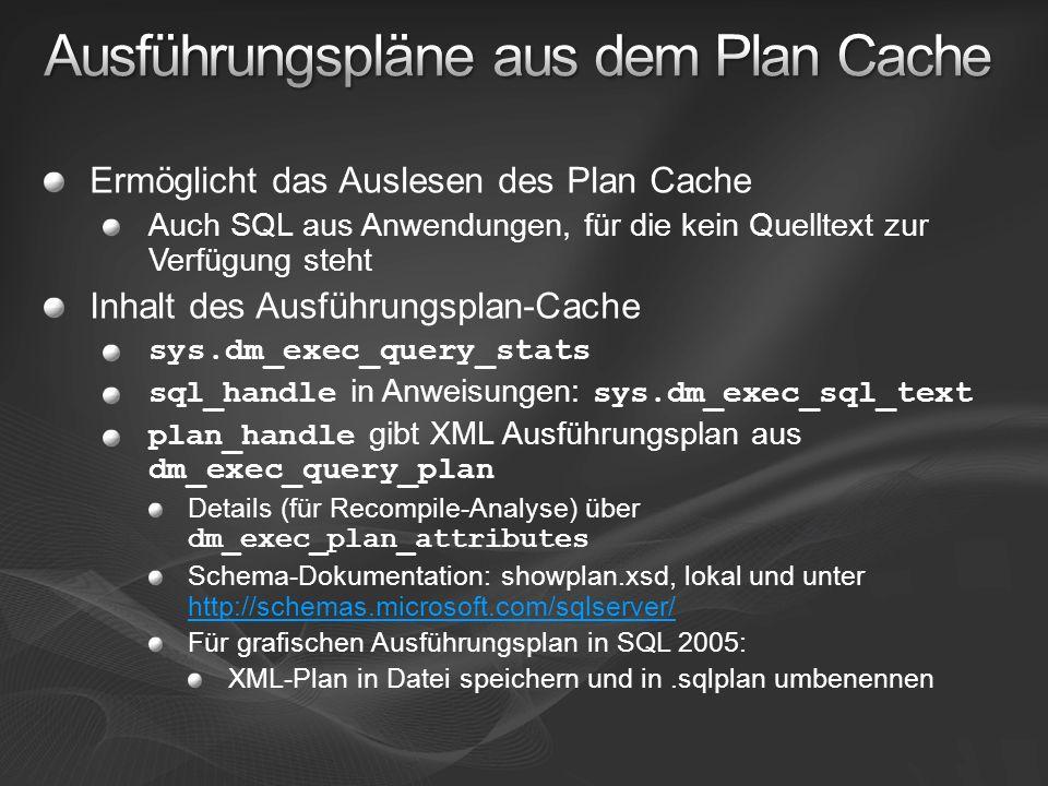 Ermöglicht das Auslesen des Plan Cache Auch SQL aus Anwendungen, für die kein Quelltext zur Verfügung steht Inhalt des Ausführungsplan-Cache sys.dm_ex