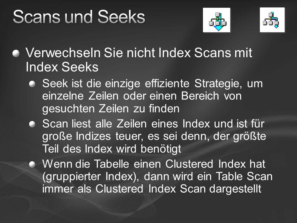 Verwechseln Sie nicht Index Scans mit Index Seeks Seek ist die einzige effiziente Strategie, um einzelne Zeilen oder einen Bereich von gesuchten Zeile
