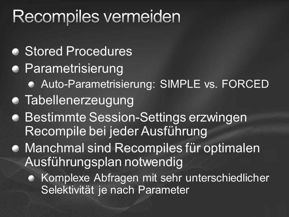 Stored Procedures Parametrisierung Auto-Parametrisierung: SIMPLE vs. FORCED Tabellenerzeugung Bestimmte Session-Settings erzwingen Recompile bei jeder