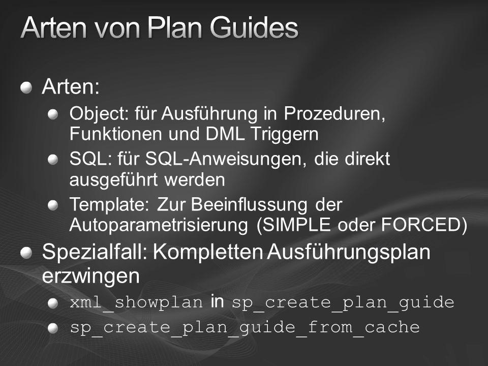 Arten: Object: für Ausführung in Prozeduren, Funktionen und DML Triggern SQL: für SQL-Anweisungen, die direkt ausgeführt werden Template: Zur Beeinflu