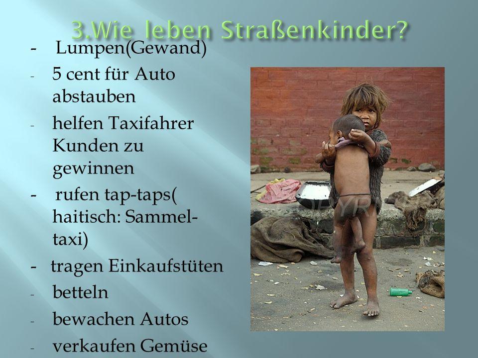 - Lumpen(Gewand) - 5 cent für Auto abstauben - helfen Taxifahrer Kunden zu gewinnen - rufen tap-taps( haitisch: Sammel- taxi) - tragen Einkaufstüten -