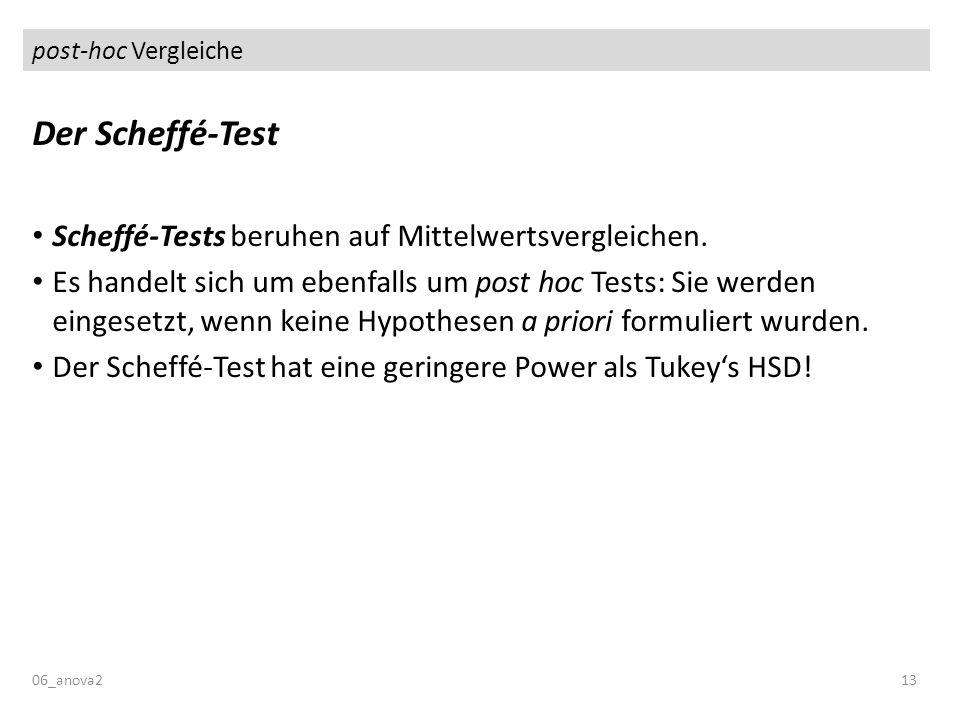 post-hoc Vergleiche Der Scheffé-Test Scheffé-Tests beruhen auf Mittelwertsvergleichen. Es handelt sich um ebenfalls um post hoc Tests: Sie werden eing