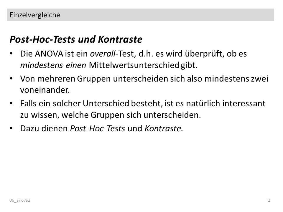 Einzelvergleiche 06_anova22 Post-Hoc-Tests und Kontraste Die ANOVA ist ein overall-Test, d.h. es wird überprüft, ob es mindestens einen Mittelwertsunt