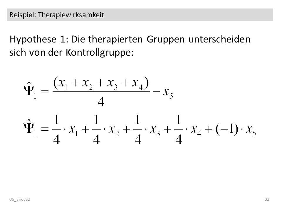 Beispiel: Therapiewirksamkeit Hypothese 1: Die therapierten Gruppen unterscheiden sich von der Kontrollgruppe: 06_anova232