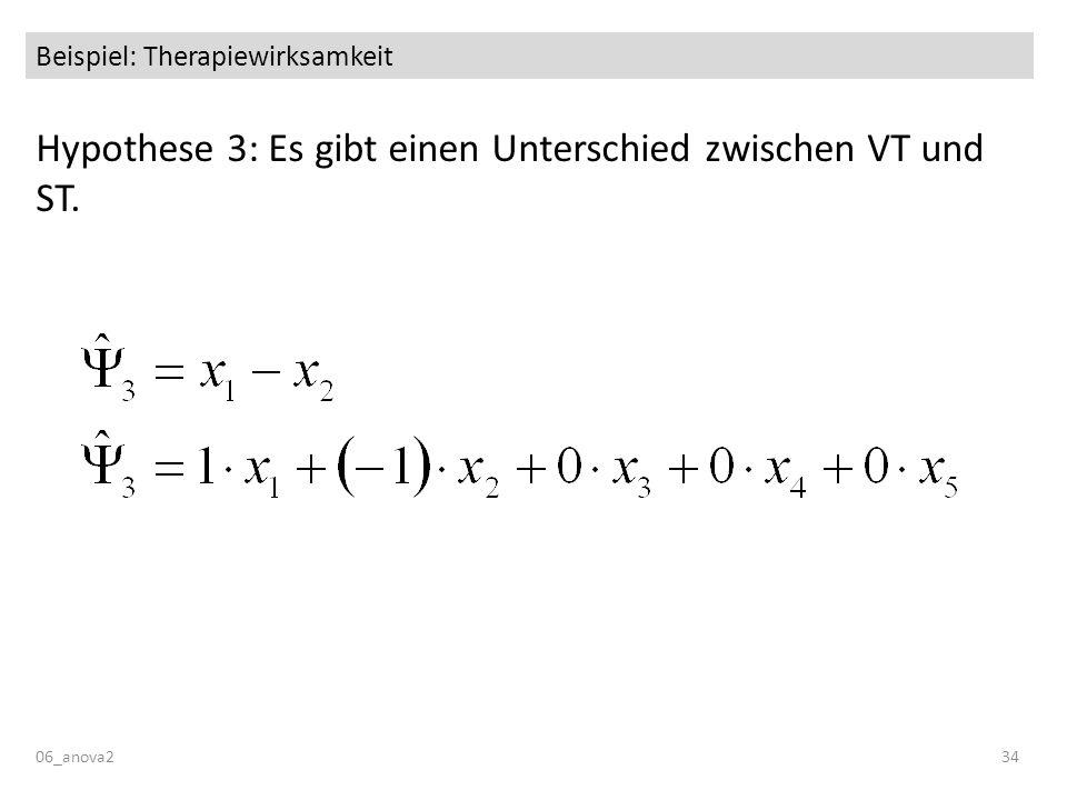 06_anova234 Beispiel: Therapiewirksamkeit Hypothese 3: Es gibt einen Unterschied zwischen VT und ST.