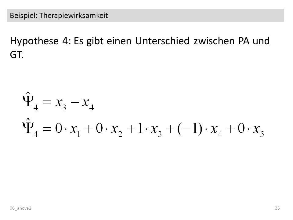 06_anova235 Beispiel: Therapiewirksamkeit Hypothese 4: Es gibt einen Unterschied zwischen PA und GT.