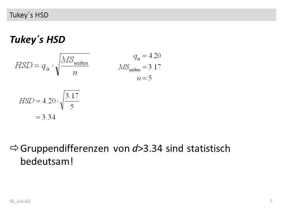 Tukey´s HSD 06_anova27 Tukey´s HSD Gruppendifferenzen von d>3.34 sind statistisch bedeutsam!