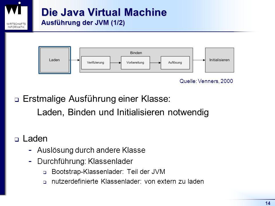 14 WIRTSCHAFTS INFORMATIK Die Java Virtual Machine Ausführung der JVM (1/2) Erstmalige Ausführung einer Klasse: Laden, Binden und Initialisieren notwe