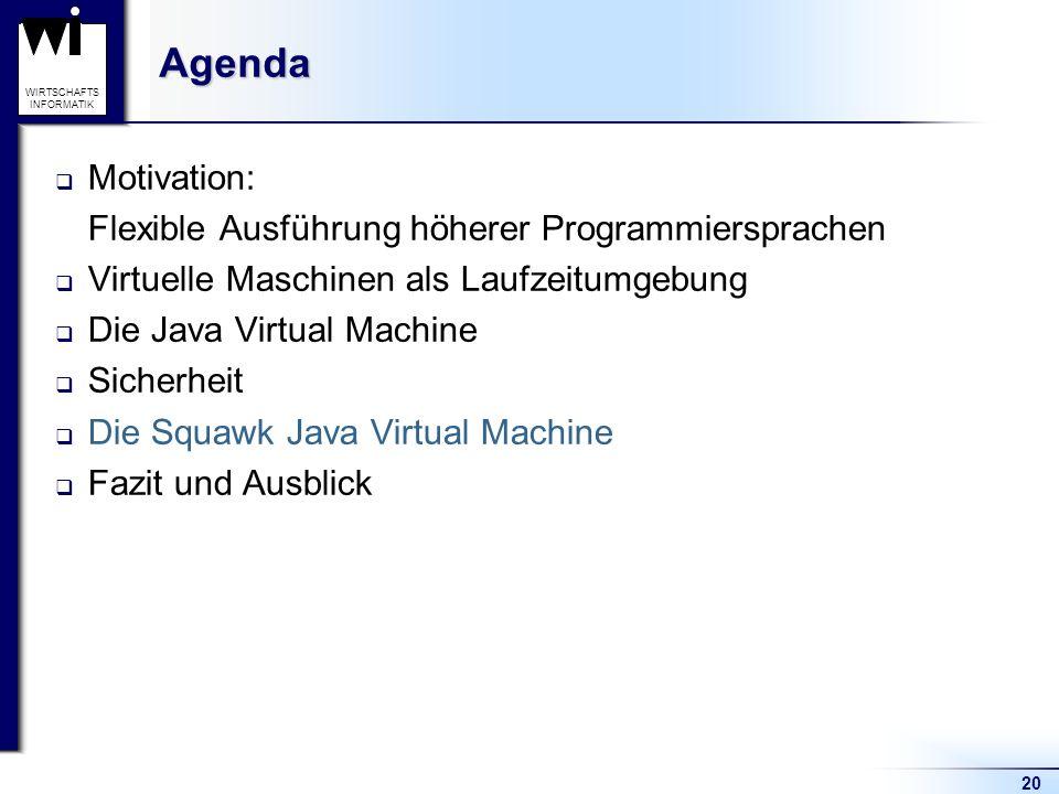 20 WIRTSCHAFTS INFORMATIKAgenda Motivation: Flexible Ausführung höherer Programmiersprachen Virtuelle Maschinen als Laufzeitumgebung Die Java Virtual
