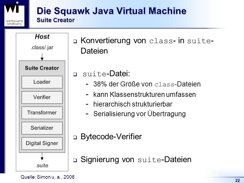 22 WIRTSCHAFTS INFORMATIK Die Squawk Java Virtual Machine Suite Creator Konvertierung von class - in suite - Dateien l suite -Datei:  38% der Größe v