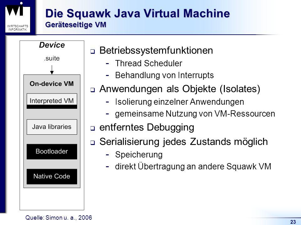 23 WIRTSCHAFTS INFORMATIK Die Squawk Java Virtual Machine Geräteseitige VM Betriebssystemfunktionen  Thread Scheduler  Behandlung von Interrupts Anw