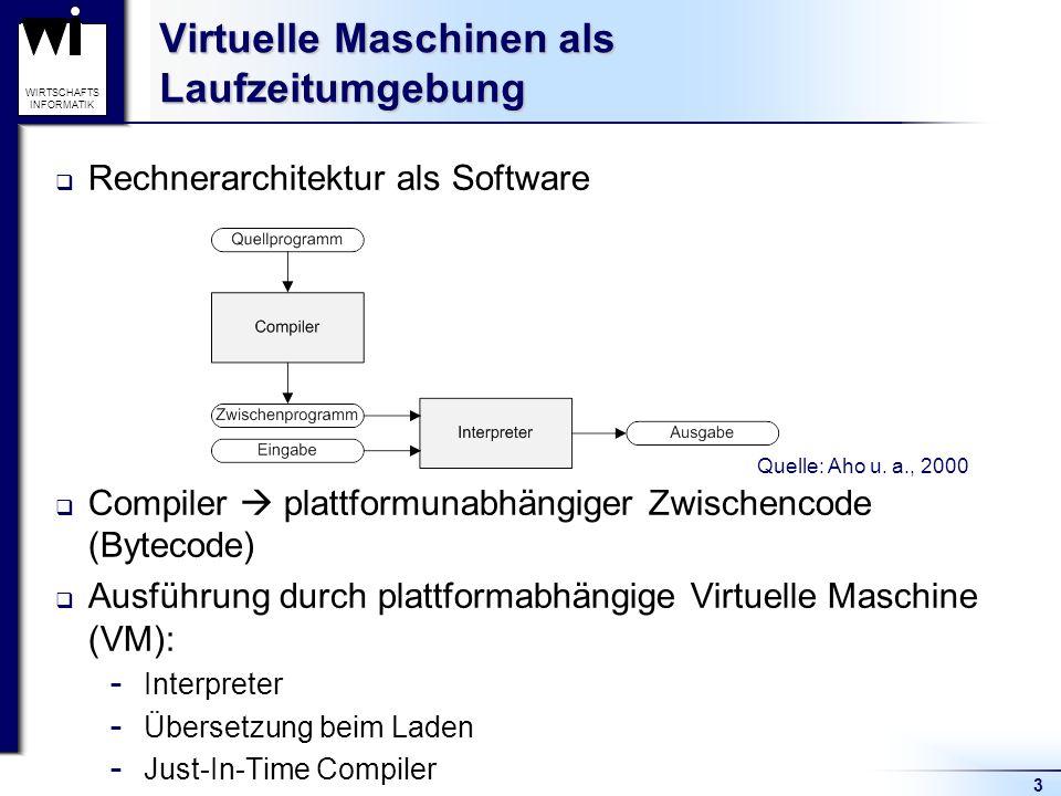 14 WIRTSCHAFTS INFORMATIK Die Java Virtual Machine Ausführung der JVM (1/2) Erstmalige Ausführung einer Klasse: Laden, Binden und Initialisieren notwendig Laden  Auslösung durch andere Klasse  Durchführung: Klassenlader Bootstrap-Klassenlader: Teil der JVM nutzerdefinierte Klassenlader: von extern zu laden Quelle: Venners, 2000