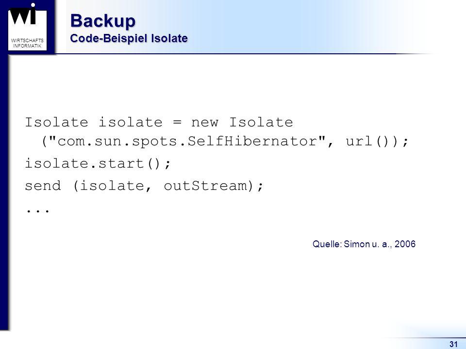 31 WIRTSCHAFTS INFORMATIK Backup Code-Beispiel Isolate Isolate isolate = new Isolate (