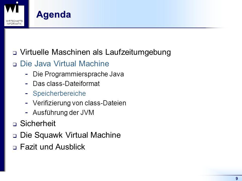 10 WIRTSCHAFTS INFORMATIK Die Java Virtual Machine Speicherbereiche JVM-abhängig  Heap  Methodenbereich Thread-abhängig  PC (Program Counter) Register  Native Methoden Stacks  Java Virtual Machine Stack – umfasst Frames: Variablenarray Operandenstack Verweis auf Konstantenpool