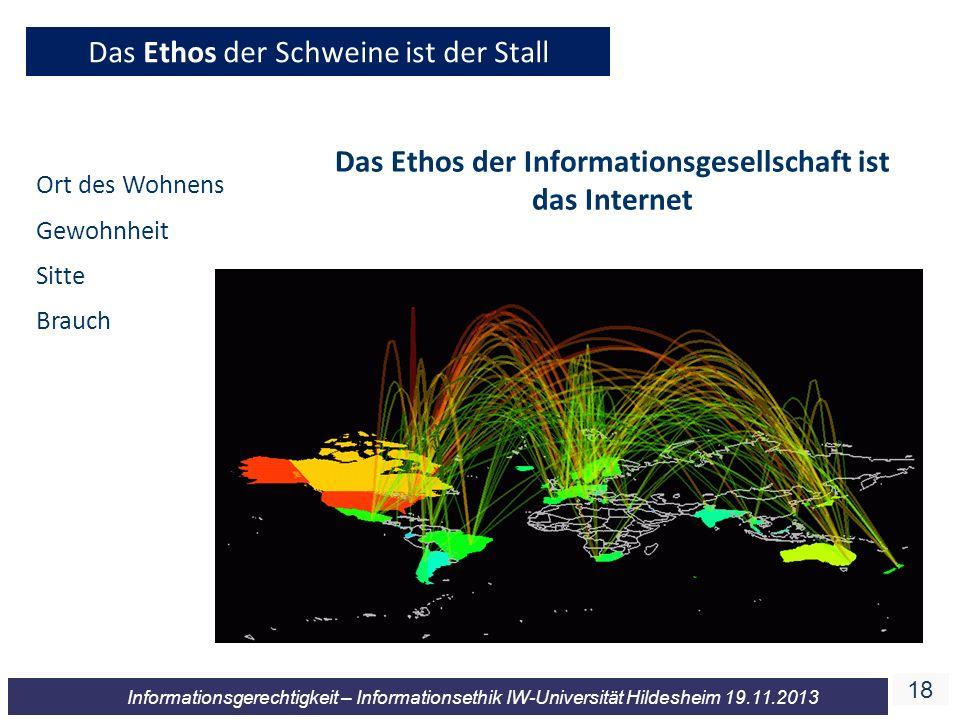 18 Informationsgerechtigkeit – Informationsethik IW-Universität Hildesheim 19.11.2013 Das Ethos der Schweine ist der Stall Das Ethos der Informationsg
