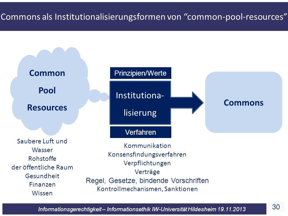 30 Informationsgerechtigkeit – Informationsethik IW-Universität Hildesheim 19.11.2013 Common Pool Resources Institutiona- lisierung Commons Kommunikat