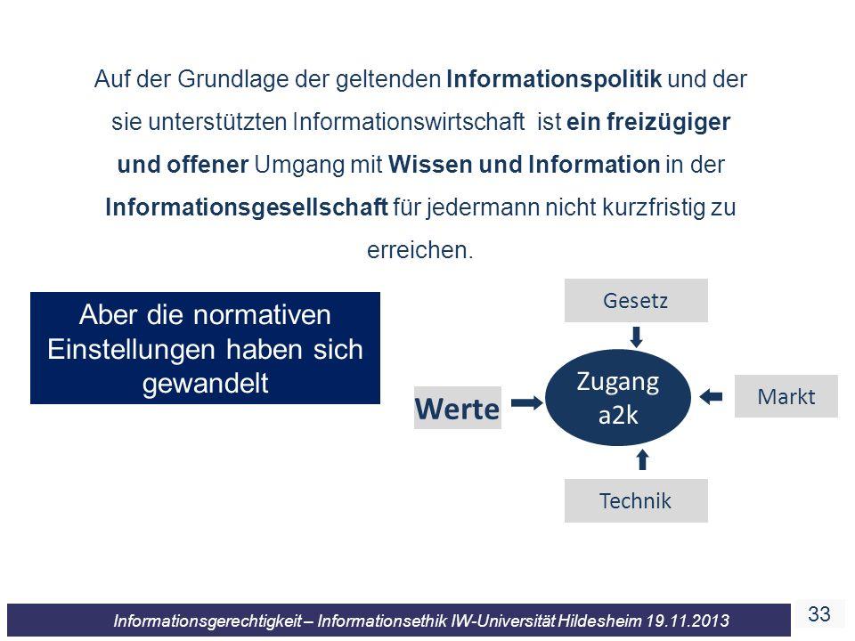 33 Informationsgerechtigkeit – Informationsethik IW-Universität Hildesheim 19.11.2013 Auf der Grundlage der geltenden Informationspolitik und der sie unterstützten Informationswirtschaft ist ein freizügiger und offener Umgang mit Wissen und Information in der Informationsgesellschaft für jedermann nicht kurzfristig zu erreichen.