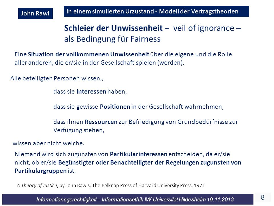 88 Informationsgerechtigkeit – Informationsethik IW-Universität Hildesheim 19.11.2013 John Rawl Schleier der Unwissenheit – veil of ignorance – als Be
