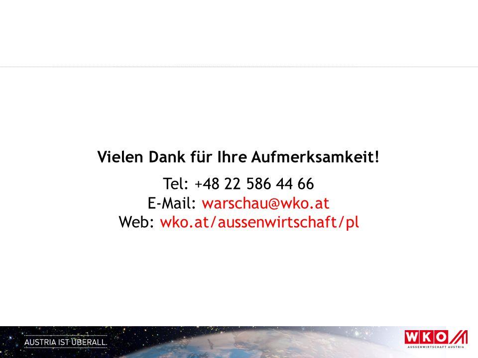 Vielen Dank für Ihre Aufmerksamkeit! Tel: +48 22 586 44 66 E-Mail: warschau@wko.at Web: wko.at/aussenwirtschaft/pl