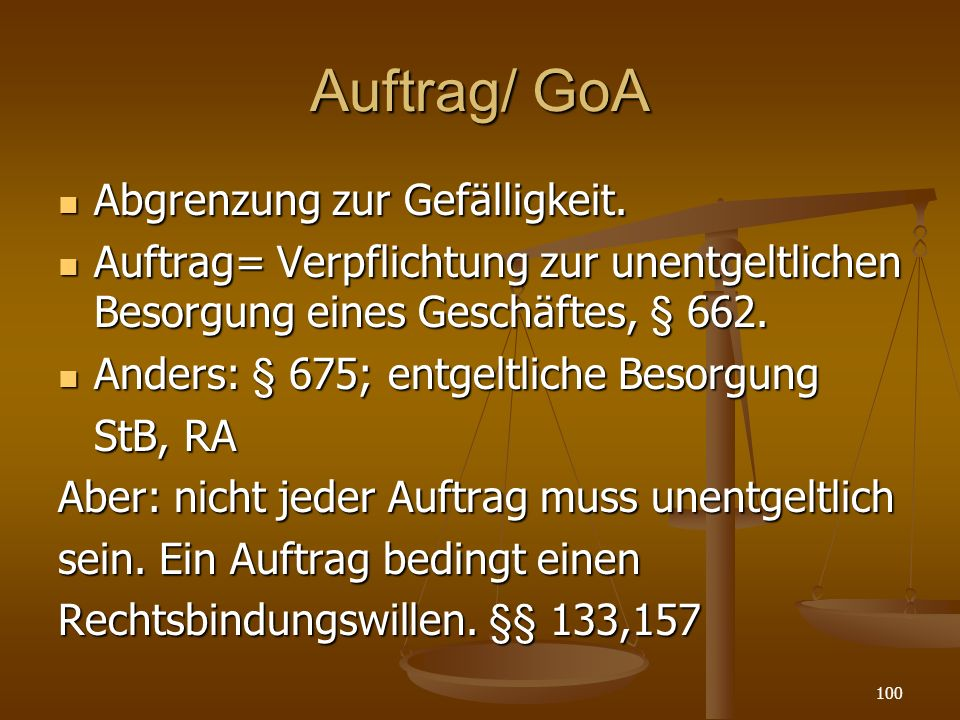 Auftrag/ GoA Abgrenzung zur Gefälligkeit.Abgrenzung zur Gefälligkeit.