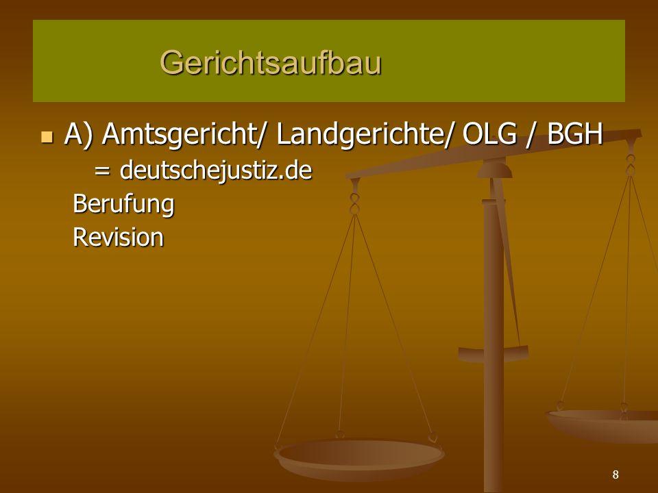 8 Mängel des Arbeitsvertrages A) Amtsgericht/ Landgerichte/ OLG / BGH A) Amtsgericht/ Landgerichte/ OLG / BGH = deutschejustiz.de BerufungRevision Gerichtsaufbau Gerichtsaufbau