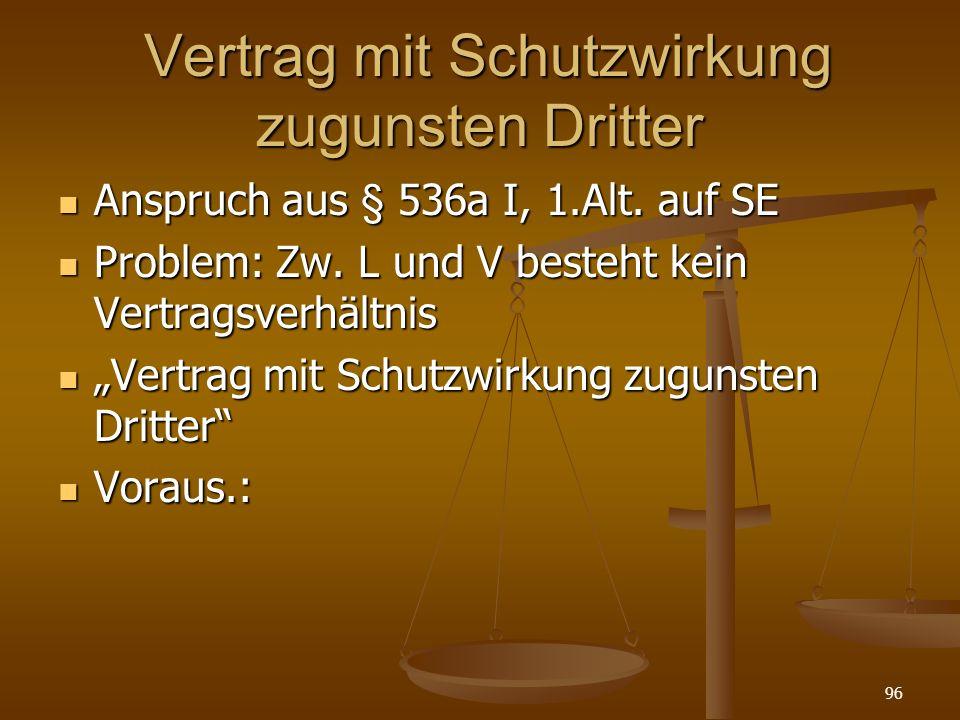 Vertrag mit Schutzwirkung zugunsten Dritter Vertrag mit Schutzwirkung zugunsten Dritter Anspruch aus § 536a I, 1.Alt.