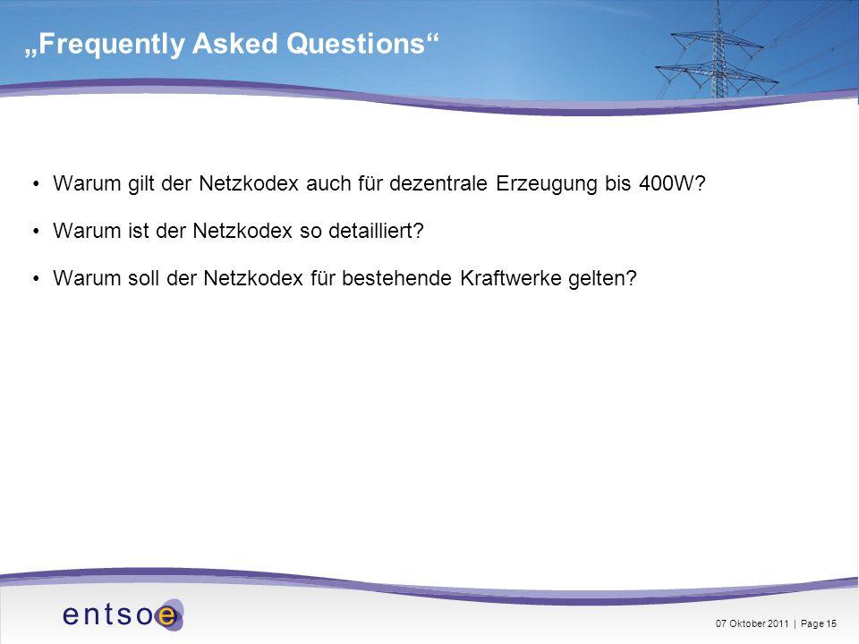 Frequently Asked Questions Warum gilt der Netzkodex auch für dezentrale Erzeugung bis 400W? Warum ist der Netzkodex so detailliert? Warum soll der Net