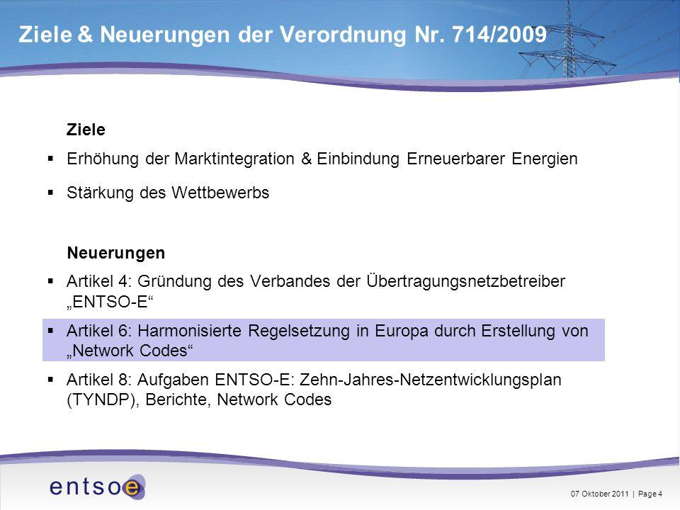 Ziele & Neuerungen der Verordnung Nr. 714/2009 Ziele Erhöhung der Marktintegration & Einbindung Erneuerbarer Energien Stärkung des Wettbewerbs Neuerun