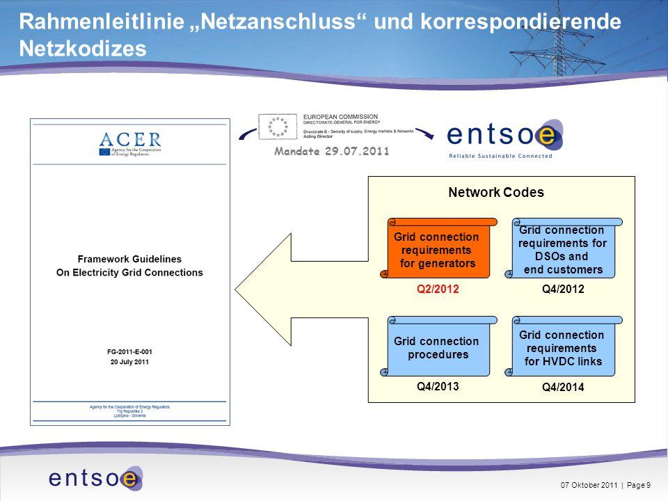 Rahmenleitlinie Netzanschluss und korrespondierende Netzkodizes Grid connection requirements for generators Grid connection requirements for DSOs and