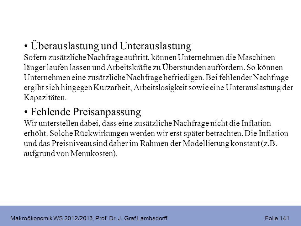 Makroökonomik WS 2012/2013, Prof. Dr. J. Graf Lambsdorff Folie 141 Überauslastung und Unterauslastung Sofern zusätzliche Nachfrage auftritt, können Un