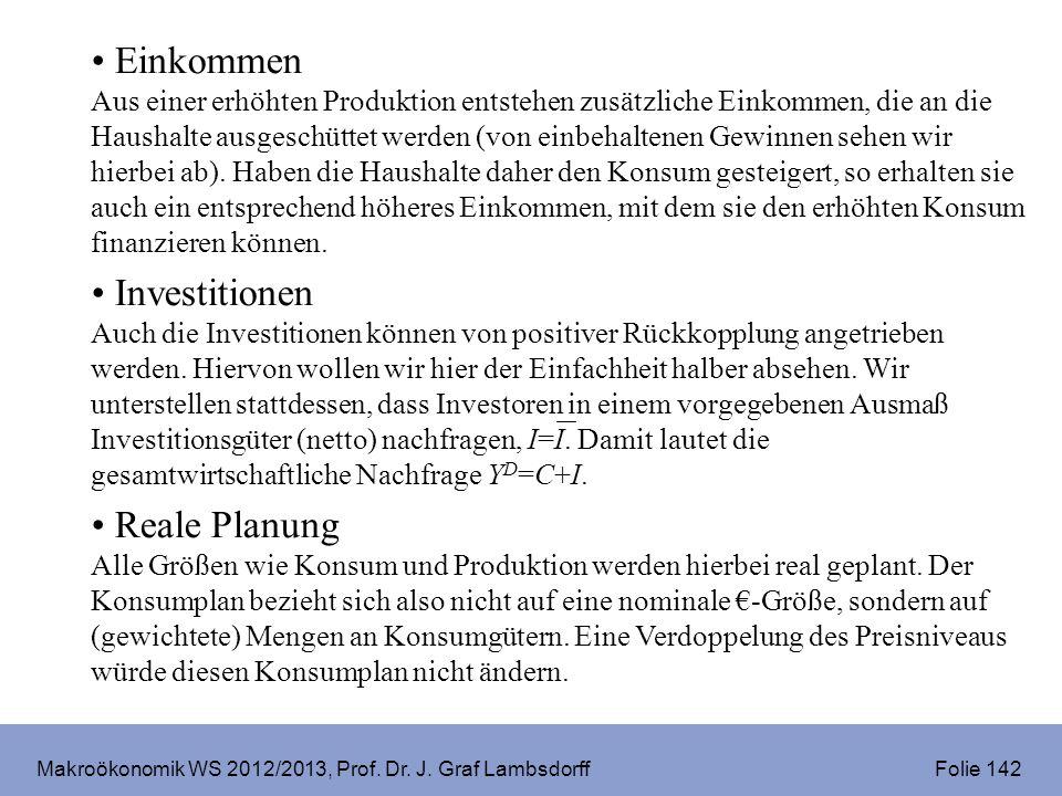 Makroökonomik WS 2012/2013, Prof. Dr. J. Graf Lambsdorff Folie 142 Einkommen Aus einer erhöhten Produktion entstehen zusätzliche Einkommen, die an die
